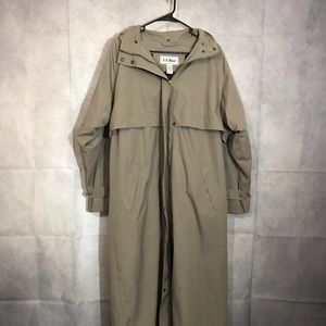 L.L. Bean hooded trench coat lined size large
